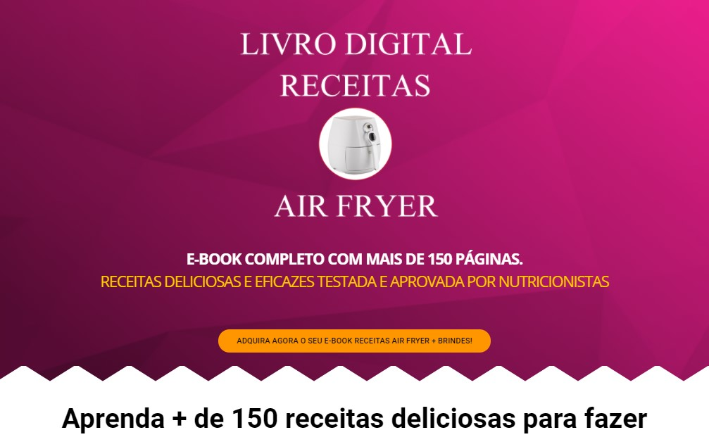 página de venda receitas para airfryer